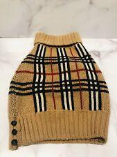 BURBERRY London 100% Wool Brown Plaid Dog Sweater