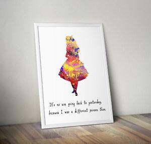 Alice in wonderland print, poster, Disney, quote, wall art, bedroom, Picture