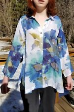 New HABITAT MEDIUM PRETTY button down floral blouse blue teal beautiful