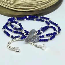 Lapis Lazuli and Sterling Silver Hammered Heart Necklace Handmade