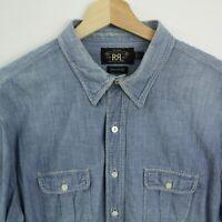 Ralph Lauren mens Double RL RRL denim Shirt size L Chambray short sleeve