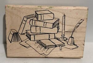 BOOKS School College Wood Rubber Stamp
