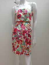 Forever New sz 6 White w Bright Floral Print Strapless Pleated Dress w Belt