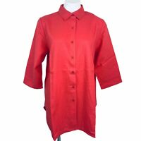 Jessica London Coral Linen/rayon Sleeves 3/4 Women Tunic Blouse. Size 16W NWT