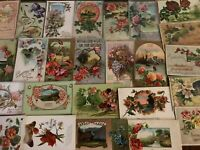 ~Lot of 25~ Pretty ~Flowers & Scenes~Antique Floral Greetings Postcards-s995