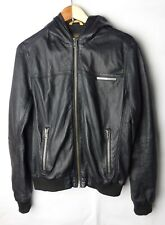 Superdry Japan  Leather Black Hooded Metal Zipped Jacket Size L