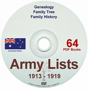 Family History Tree Genealogy England Colonial Army Lists 1913-18 Old Books DVD