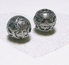 BALI .925 STERLING SILVER 11.5mm ROUND ORNATE FOCAL BEAD #1907 - (1)