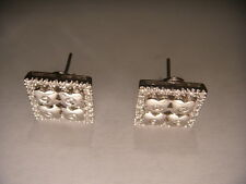 Gorgeous Estate 14K White Gold MicroPave Diamond Square Flower Earrings