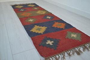 Kilim Rug Wool Indian 60x180cm 2x6' Kelim Maroon Red Navy Handmade Style SPAIN