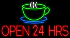 "New Open 24 Hours Coffee Cafe Beer Light Lamp Neon Sign 32"" Poster Decor Artwork"