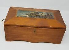 Vintage Primitive Wood Jewelry Box With Storage Insert - 1979