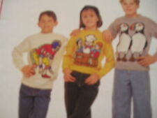 KNITTING PATTERN FOR 3 CHILDS JUMPERS.