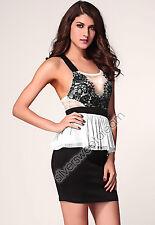 Dress Woman Elegant Chiffon Girl Flounce Lace Peplum Short Mini Boat Neck sexy