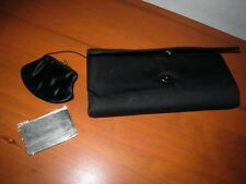 VINTAGE HARRY LEVINE H L BLACK CLUTCH PURSE SATIN LINING COIN PURSE MADE IN USA