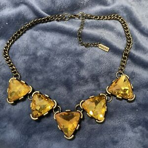 Baublebar Gold Tone Orange Rhinestone Chunky Statement Necklace