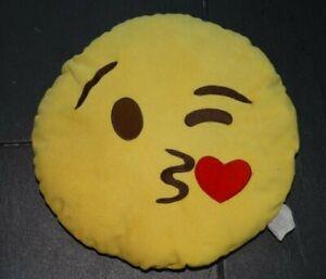 Kissing emoji yellow cushion. Small