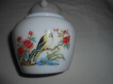 Avon Jar White Milk Glass Ginger Jar Covered Container Yellow Finch Bird & Peony