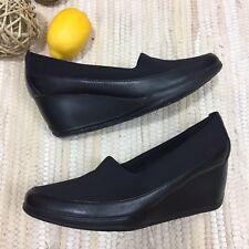 Clarks Women's Wedge Pump Shoes Size 7M Black Portrait Helen Heel