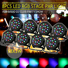 8× 54W RGB LED Stage Light DMX Can Uplighter Lighting Effect DJ Disco Band Party