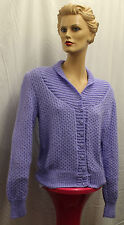1940/1950s Womens Lavender Hand Knitted Cardigan Land Girl reenactment WWII WW2