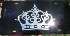 Silver Mirrored Crown License Plate Laser Cut acrylic inlaid Chrome Queen