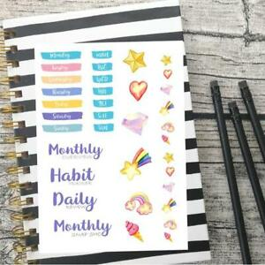 unicorn watercolour monthly kit, Monthly overview, Daily review,