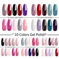 UR SUGAR 10 Bottles UV LED Gel Polish Set Base Top Coat Nail Varnish Matte Color