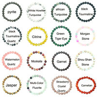 Unisex 8mm Beads Good Natural Gemstone Round Beaded Stretch Bracelet Jewelry