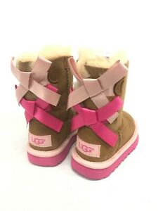 UGG Kid's Bailey Bow II Boots Chestnut Pink Azalea 1017394T Sheepskin