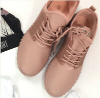 Women's fashion blush pink fly Knit lace up sneakers gym casual choose shoe size