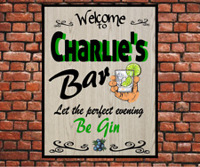 Personalised Gin Bar Party Drink Novelty Gift custom Plaque Sign free P&P 20x15
