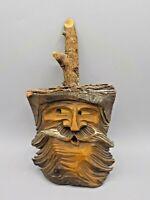 "Vtg Hand Carved Black Forest Wood Carving Tree Trunk Live Edge Old Man 11.5"" x 6"