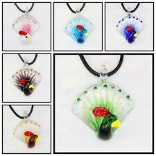 6 Pcs Fashion Women's peacock lampwork Murano art glass beaded pendant necklace