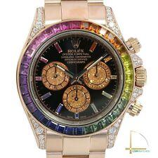 Rolex Daytona 18K Rose Gold Watch Black Face Rainbow Marker & Bezel 40mm 116505