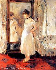 Woman Cream Dress Mirror Sunlight Art - Psyche - Berthe Morisot  8x10 Print 0243