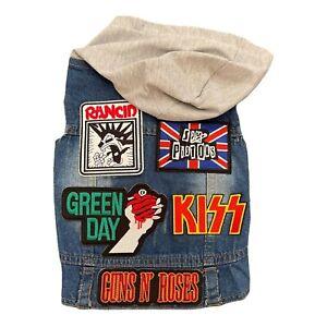 Rocker denim vest with unique patches avail in XS-XXL