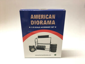 American Diorama Accessory 1:18 Metal Tire Rack with Tires - AD-77518