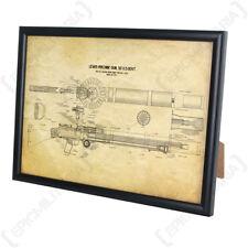 Etats-Unis Lewis Machine Gun encadrée Blueprint-A4 armée arme Print Artwork Me Cadeau Nouveau