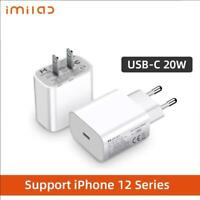 20W PD Charger USB-C Fast Charging Wall Adapter Quick Charge For iPhone 12 XR X