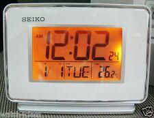 Seiko LCD Thermometer Daul Alarm QHL068W Snooze Daylight saving time Calendar