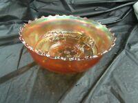 Vintage Gold Carnival Glass Bowl, Flower Pattern
