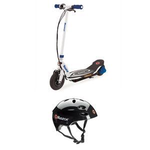 Razor Power Core E100 Kids Ride On Electric Motor Scooter w/ Youth Helmet, Blue