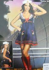 Navy Sailor Girl Uniform Ladies Rockabilly Pin Up Fancy Dress Costume