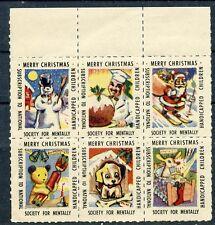 BLOC DE 6 TIMBRES VIGNETTES  / NOEL / MERRY CHRISTMAS
