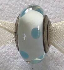 PANDORA #790608 WHITE WITH BABY BLUE DOTS MURANO GLASS CHARM