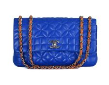 CHANEL Blue Leather Quilted Small F