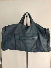 Vintage Slate Blue Leather Large Duffle Bag