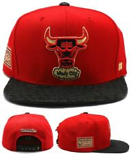 Chicago Bulls New Mitchell & Ness LUXE Leather Red Black Era Snapback Hat Cap