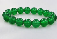 New 12mm Green 100% Natural Emerald Round Gemstone Beads Bangle Bracelet